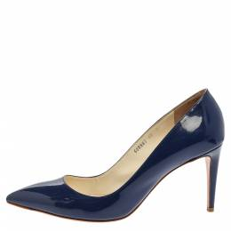 Ralph Lauren Collection Blue Patent Leather Armissa Pointed Toe Pumps Size 40 356734