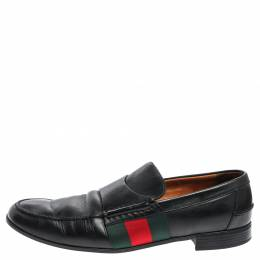 Gucci Black Leather Web Slip On Loafers Size 44.5 357104