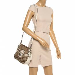 Coach Ivory/Beige Signature Canvas and Leather 70th Anniversary Limited Edition Willis Bag 356763