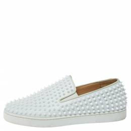 Christian Louboutin White Leather Roller Boat Spiked Slip On Sneakers Size 44.5 356976