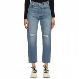 Re/done Blue 70s Ultra High Stove Pipe Jeans 140-3WUHRSTV