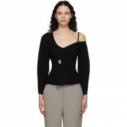 3.1 Phillip Lim Black Off-The-Shoulder V-Neck Sweater H201-7346WRU