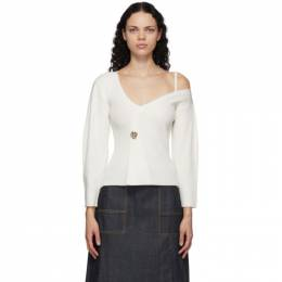 3.1 Phillip Lim White Off-The-Shoulder V-Neck Sweater H201-7346WRU