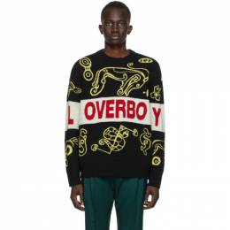 Black and Yellow Logo Squiggle Sweater CJLPS21LLG Charles Jeffrey Loverboy