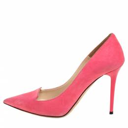 Jimmy Choo Pink Suede Avril Pointed Toe Pumps Size 35.5 358098