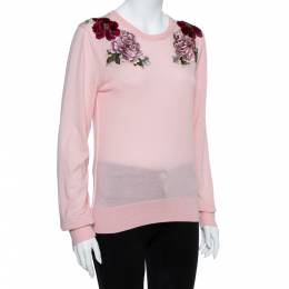 Dolce and Gabbana Pink Rose Applique Cashmere Pullover L 356860