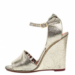 Charlotte Olympia Metallic Gold Crackled Leather Mischievous Wedge Sandals Size 38 357874
