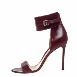 Gianvito Rossi Burgundy Leather Ankle Cuff Buckle Open Toe Sandals Size 38.5 357868