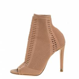 Gianvito Rossi Beige Stretch Knit Fabric Perforated Boots Size 37.5 357856