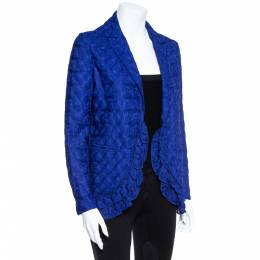 Missoni Electric Blue Silk Blend Ruffle Detail Crochet Blazer S 357952