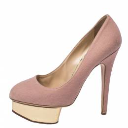 Charlotte Olympia Pink Canvas Dolly Platform Pumps Size 38 358017