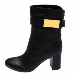 Giuseppe Zanotti Black Leather Logo Plaque Ankle Boots Size 37 351064