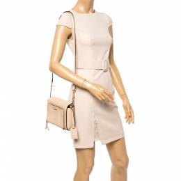 Dkny Beige Leather Bryant Park Pocket Crossbody Bag 358743