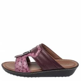 Tod's Two Tone Ostrich Embossed and Leather Sandals Size 39.5 358178
