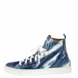 Dsquared2 Blue/White Denim Fabric High Top Sneakers Size 41.5 358425