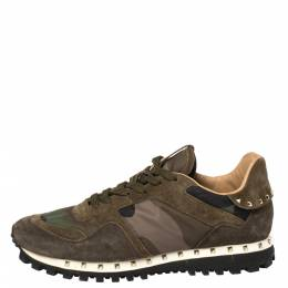 Valentino Military Green Camouflage Nylon and Suede Rockrunner Sneakers Size 39.5 358829