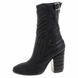 Laurence Dacade Black Leather Buckle Detail Zipper Ankle Boots Size 37.5 358623
