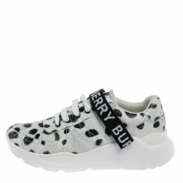 Burberry White/Black Cheetah Print Leather Ronnie Sneakers Size 40 358118
