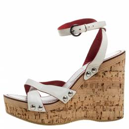 Miu Miu White Leather Cork Wedge Platform Sandals Size 39 354885