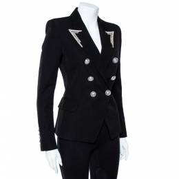 Balmain Black Embellished Wool Double Breasted Blazer S 359825