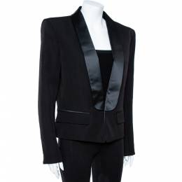 Balmain Black Wool Satin Lapel Tailored Blazer XL 358437