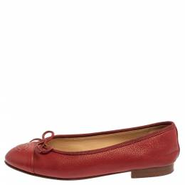 Chanel Red Leather CC Cap Toe Bow Ballet Flats Size 35 360233