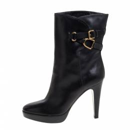 Ralph Lauren Collection Black Leather Ankle Boots Size 41 357892