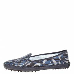 Tod's Multicolor Floral Printed Canvas Gommino Smoking Slippers Size 39.5 358159