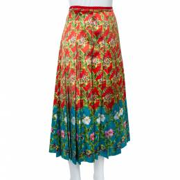 Gucci Multicolor Floral Pleated Silk Skirt M 359845