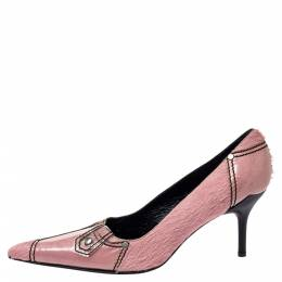Casadei Pink Calfhair and PVC Pointed Toe Pumps Size 40 360420