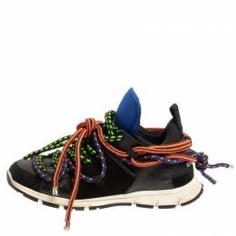 Dsquared2 Black Fabric And Suede Leather Bungy Jump Lace Up Sneakers Size 42 359916