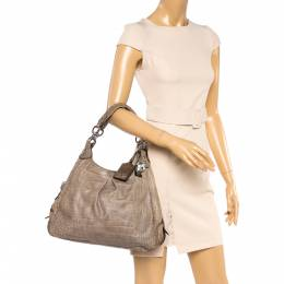 Coach Pale Green Croc Embossed Leather Madison Maggie Shoulder Bag 360219