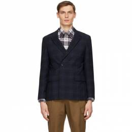 Z Zegna Navy Check Broken Suit Blazer 1 854805 1DUSG0
