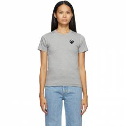 Comme des Garcons Play Grey Heart Patch T-Shirt T075