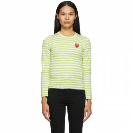 Comme des Garcons Play Green and White Striped Heart Patch Long Sleeve T-Shirt P1T277