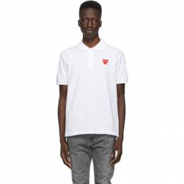 Comme des Garcons Play White Heart Patch Polo P1T006