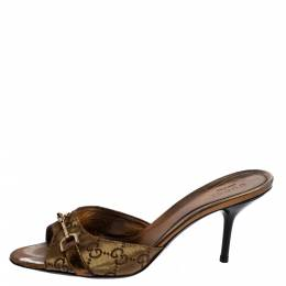 Gucci Gold GG Canvas And Leather Horsebit Open Toe Slide Sandals Size 36.5 361608
