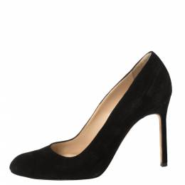 Manolo Blahnik Black Suede BB Round Toe Pumps Size 35.5 361186