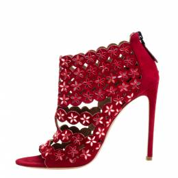 Alaia Red Suede Leather Mirror Embellished Laser Cut Out Open Toe Sandals Size 40 359995