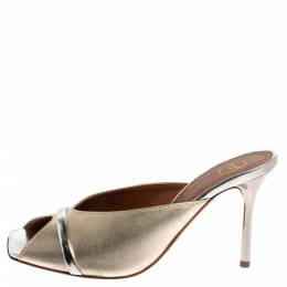 Malone Souliers Gold/Silver Leather Lucia Open Toe Mules Size 37 360887