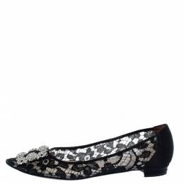 Manolo Blahnik Black Lace and Satin Hangisi Ballet Flats Size 38.5 360982