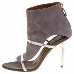 Malone Souliers Grey Suede And Leather Miley Cutout Sandals Size 38 361120
