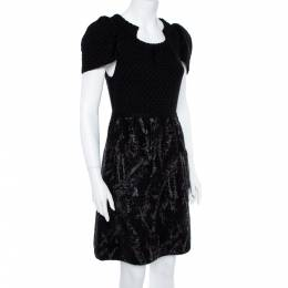 Chanel Black Wool Knit Coated Paint Detail A-Line Dress M 361632