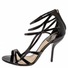 Dior Black Patent Leather Caged Open Toe Sandals Size 37.5 360231