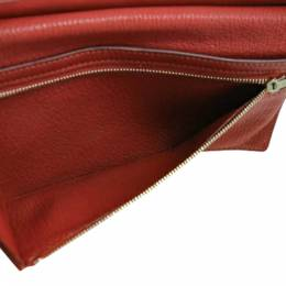 Hermes Red Leather Bearn Classic Wallet 360349