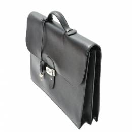 Hermes Black Leather Ardennes Sac a Depeches 38 Briefcase Bag 360166