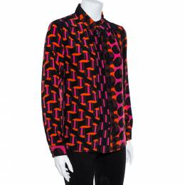 M Missoni Multicolor Geo Print Crepe de chine Silk Shirt L 362041