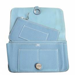 Hermes Blue Clemence Leather Dogon Combined Wallet 360350