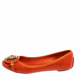 Tory Burch Orange Patent Leather Logo Ballet Flats Size 35 362318