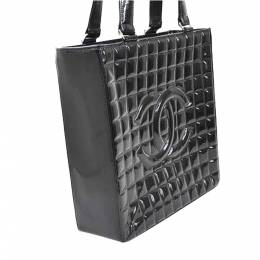 Chanel Black Patent Leather Choco Bar Tote Bag 361836